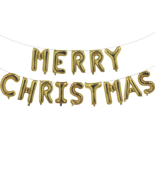 "[Merry Christmas] 16"" Merry Christmas Alphabet Foil Balloons Banner - Gold"
