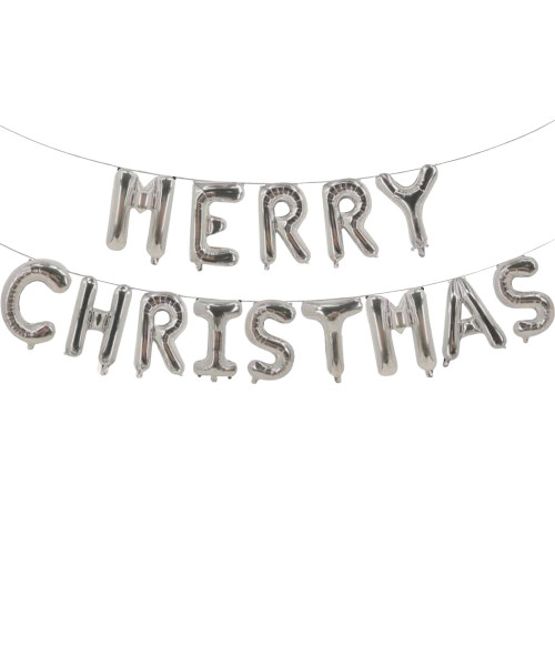 "[Merry Christmas] 16"" Merry Christmas Alphabet Foil Balloons Banner - Silver"
