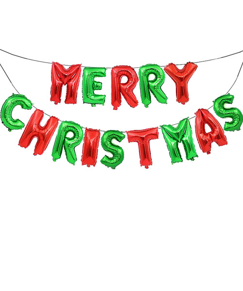 "[Merry Christmas] 16"" Merry Christmas Alphabet Foil Balloons Banner - Red and Green"