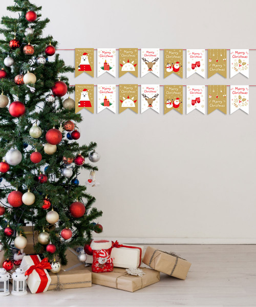 [Merry Christmas] Christmas Paper Bunting (3meter) - Merry Bear, Warmly Reindeer and Jolly Santa