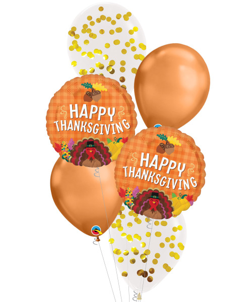 [Thanksgiving] Happy Thanksgiving Harvest Chrome Copper Balloon Bouquet