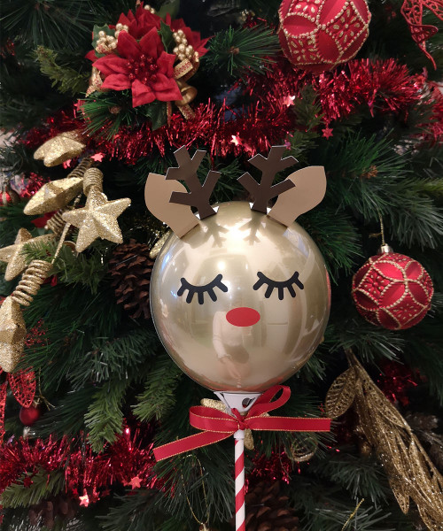 [Merry Christmas] Reindeer Aqua Balloon on Stick (5inch) - The Sleeping Rudolph