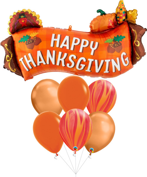 [Thanksgiving] Harvest Banner Balloon Bouquet