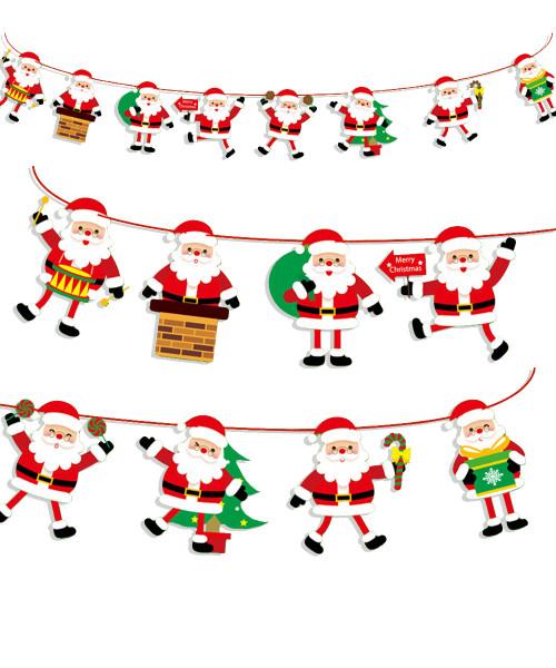 [Merry Christmas] Christmas Paper Bunting (3meter) - Santa Claus