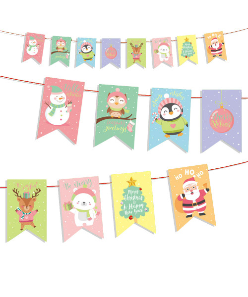 [Merry Christmas] Christmas Paper Bunting (3meter) - Cute Christmas Characters