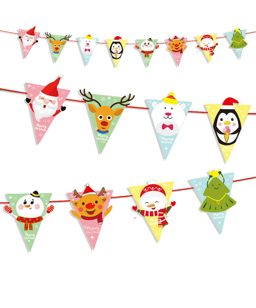 [Merry Christmas] Christmas Paper Bunting (3meter) - Cheerful Christmas Characters Triangle Flag