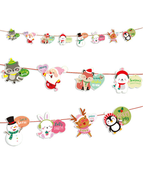 [Merry Christmas] Christmas Paper Bunting (3meter) - Christmas Characters Bubble Greetings