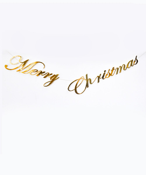 [Merry Christmas] Christmas Paper Bunting (80cm) - Merry Christmas Metallic Gold