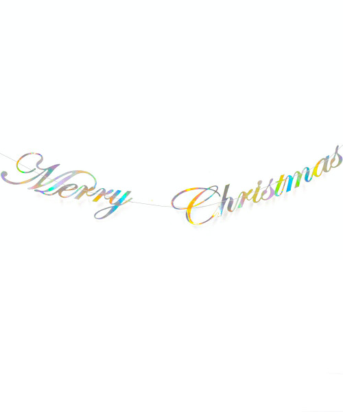 [Merry Christmas] Christmas Paper Bunting (80cm) - Merry Christmas Holographic