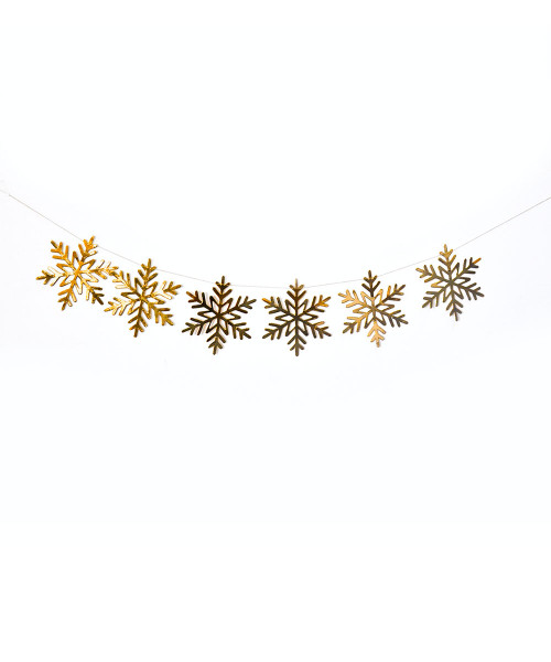 [Merry Christmas] Christmas Paper Bunting (80cm) - Snowflakes Metallic Gold