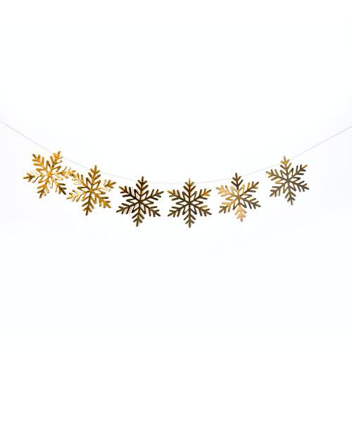 Paper Bunting (80cm) - Snowflakes Metallic Gold