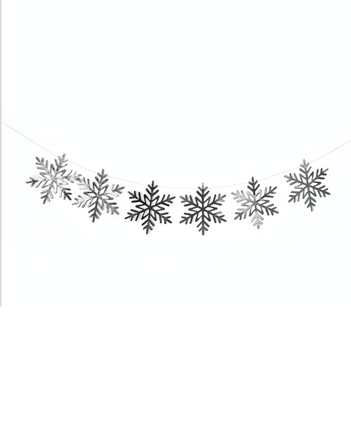 [Merry Christmas] Christmas Paper Bunting (80cm) - Snowflakes Metallic Silver
