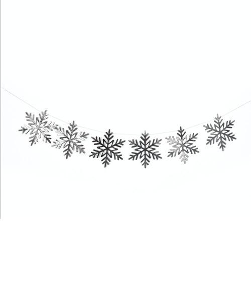Paper Bunting (80cm) - Snowflakes Metallic Silver