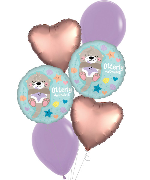[Baby] Otterly Adorable Satin Luxe Rose Copper Heart Balloons Bouquet