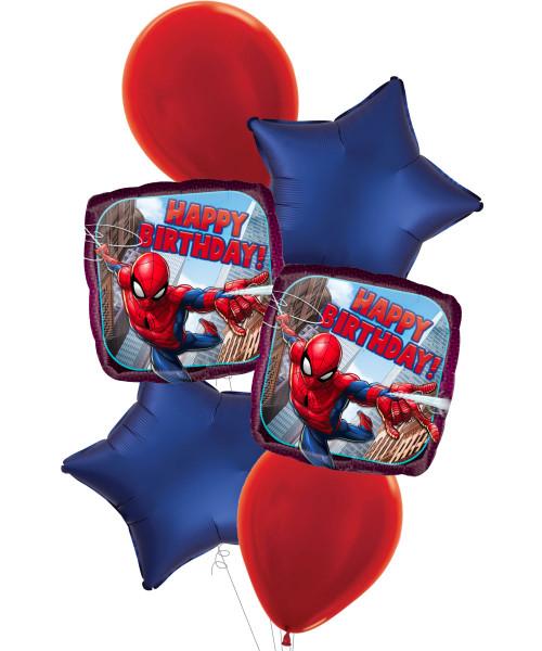 [Spider Man] Spider Man Happy Birthday Satin Luxe Navy Star Balloons Bouquet
