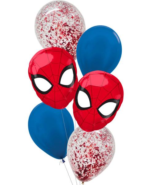 [Spider Man] Ultimate Spider Man Head Metallic Red Confetti Balloons Bouquet