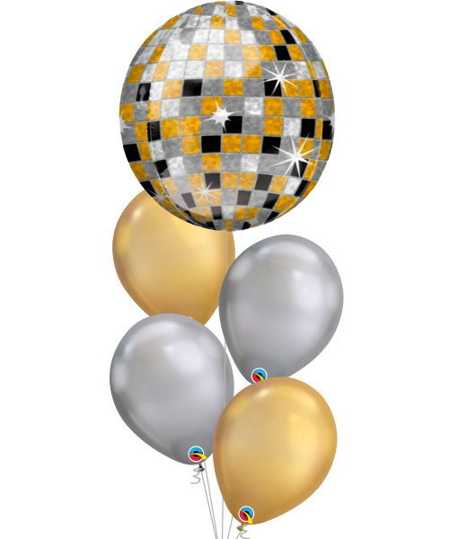 Orbz Disco Ball - Gold, Silver, Black Chrome Balloons Bouquet