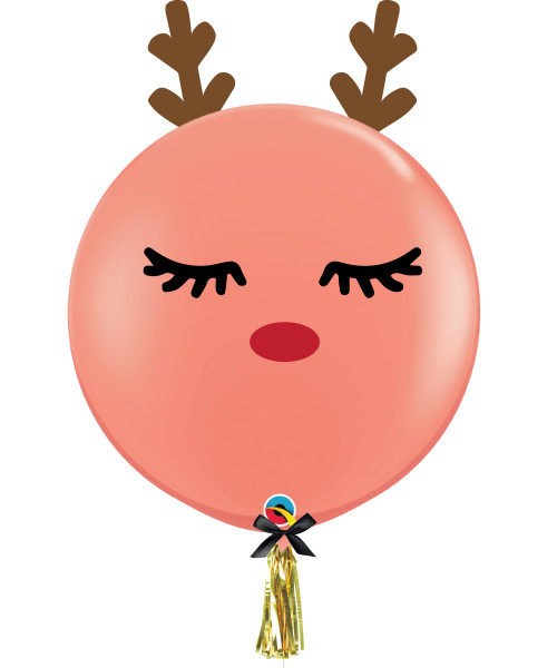 "36"" Jumbo Perfectly Round Sleeping Rudolph Coral Latex Balloon"