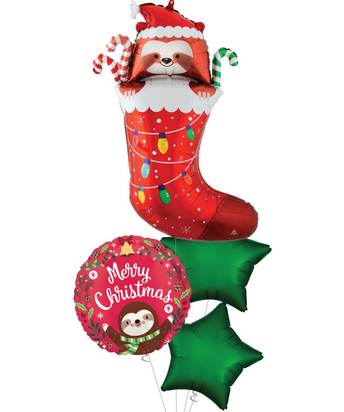 [Merry Christmas] Merry Christmas Sloth Stocking Balloons Bouquet