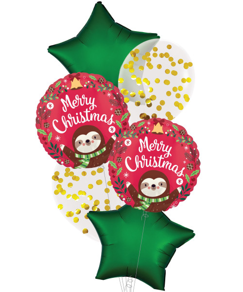 [Merry Christmas] Sloth Christmas Metallic Gold Confetti Balloons Bouquet