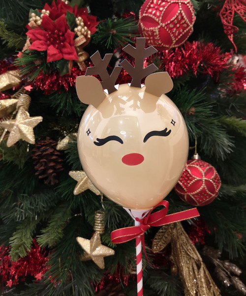[Merry Christmas] Reindeer Aqua Balloon on Stick (5inch) - The Adorable Rudolph