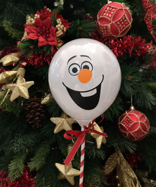 [Merry Christmas] Snowman Aqua Balloon on Stick (5inch) - The Cheery Frosty