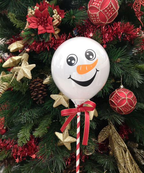[Merry Christmas] Snowman Aqua Balloon on Stick (5inch) - The Graceful Frosty