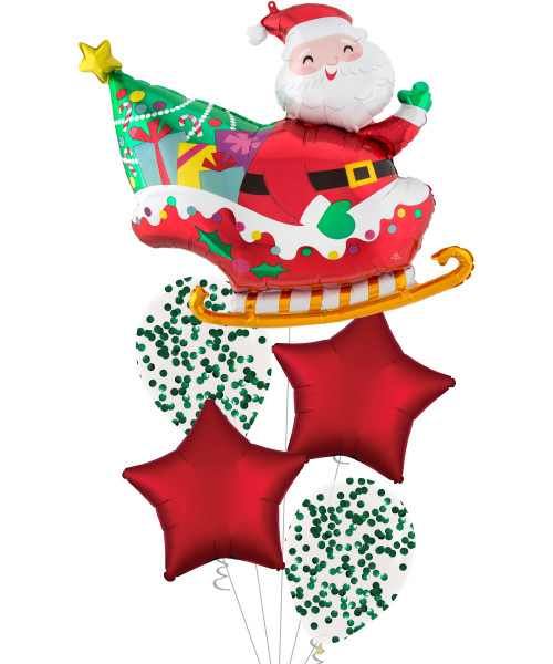 [Merry Christmas] Santa's Sleigh Satin Luxe Sangria Red Star Balloons Bouquet