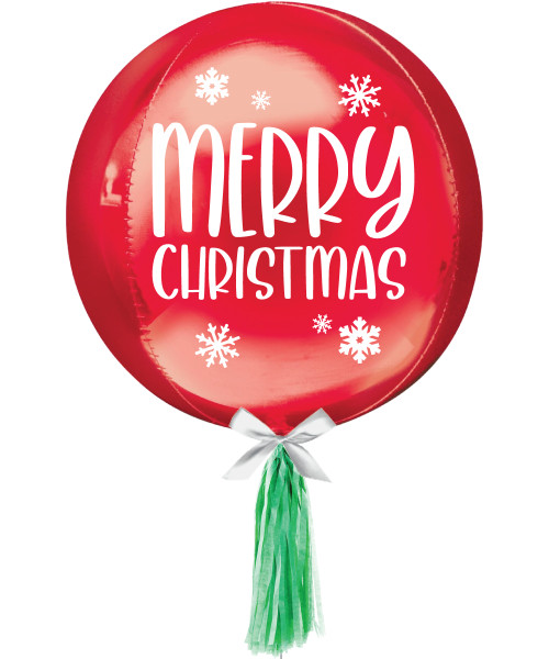 "[Merry Christmas] 16""/41cm Red Sphere Shaped Balloon - Merry Christmas Snowflakes"