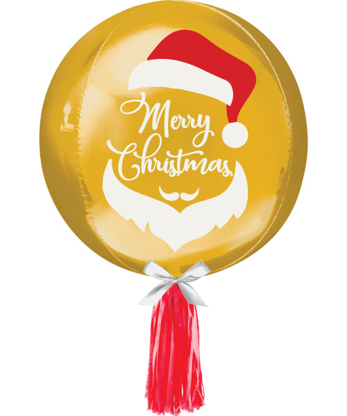 "[Merry Christmas] 16""/41cm Gold Sphere Shaped Balloon - Santa Merry Christmas"