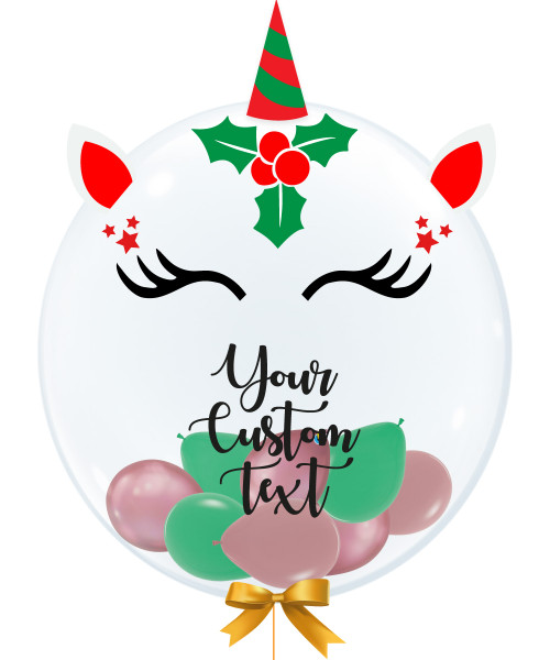 "[Merry Christmas] 24"" Personalised Crystal Clear Transparent Balloon - Santa Unicorn"