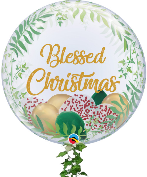 "Blessed Christmas 24"" Crystal Clear Transparent Elegant Greenery Printed Balloon - Mini Confetti, Chrome & Metallic Latex Balloons Filled"