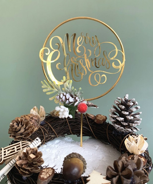 [Merry Christmas] Christmas Cake Topper - Merry Christmas Metallic Gold Round