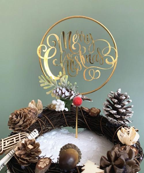 [Merry Christmas] Christmas Cake Topper - Merry Christmas Metallic Gold Round