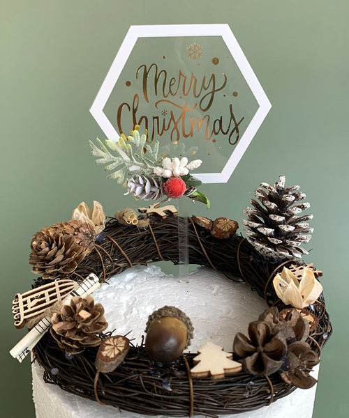 [Merry Christmas] Christmas Cake Topper - Merry Christmas White Edge Hexagon