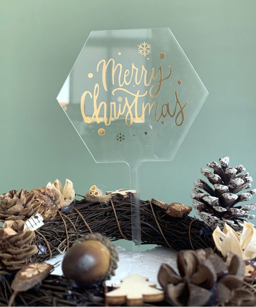 [Merry Christmas] Christmas Cake Topper - Merry Christmas Clear Hexagon