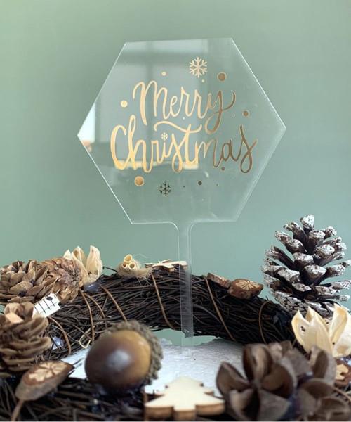 [Merry Christmas] Christmas Cake Topper - Merry Christmas Clear Hexagon