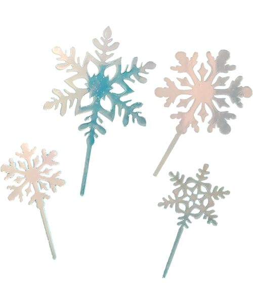 [Merry Christmas] Snowflakes Cake/Cupcake Topper - Translucent Iridescent