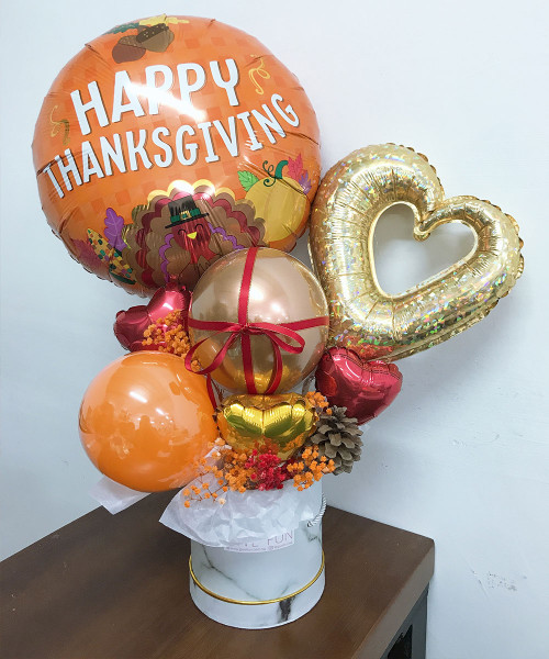 [Thanksgiving] Balloons Bouquet Box (White Marble) - Gratitude