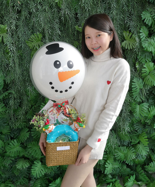 [Merry Christmas] Christmas Decor & Balloon Gift Basket - Snowman The Frosty's Surprise