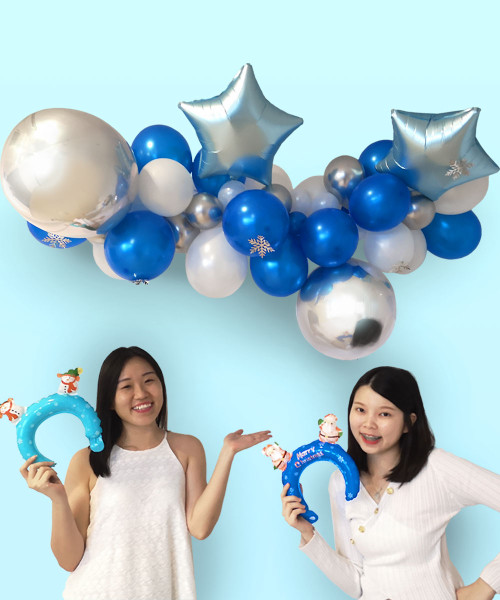 [Merry Christmas] Christmas Organic Balloon Garland (1.5m) - Sterling Frosty Blue