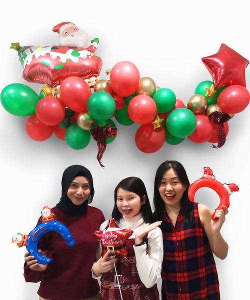 [Merry Christmas] Christmas Organic Balloon Garland (1.5m) - Santa-cular