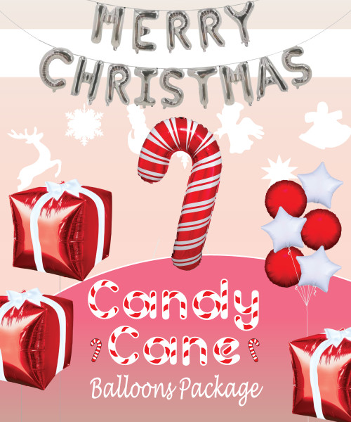 [Merry Christmas] Christmas Balloons Package - Candy Cane