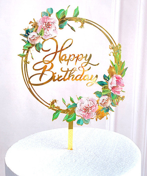 Happy Birthday Cake Topper - Round Gold Garden Floral