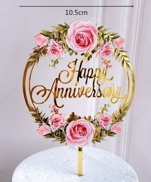 Happy Anniversary Cake Topper - Sweet Pink Rosy