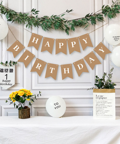 Classic Happy Birthday Bunting (2.5meter) - Eco Brown