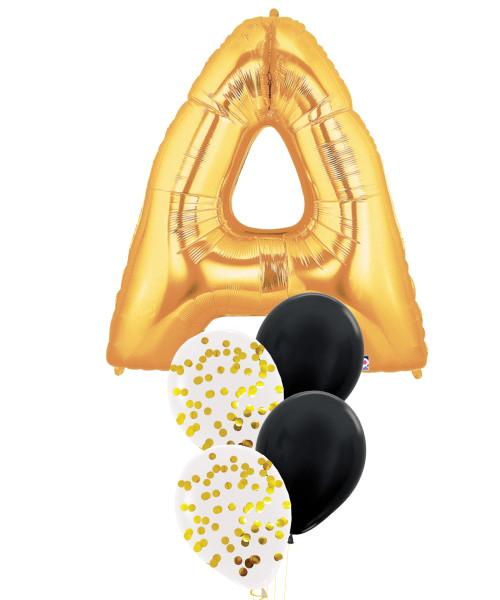 "40"" Giant Alphabet Foil (Gold) Round Confetti (1cm) Metallic Latex Balloons Cluster (Letter A-Z)"
