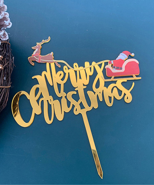 [Merry Christmas] Christmas Cake Topper (Gold) - Santa Claus & Reindeer