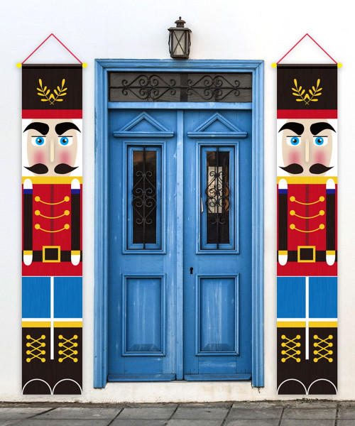 [Merry Christmas] Christmas Wall Hanging Banner (180cm) - Two of a Kind Nutcracker