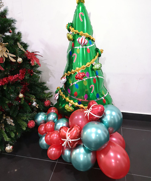 [Merry Christmas] Christmas Balloons Centerpiece - Christmas Tree Greeter
